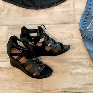 Black Strapped Wedge Sandals